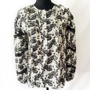 NWT Anthropologie Ivory and Black Floral Blouse